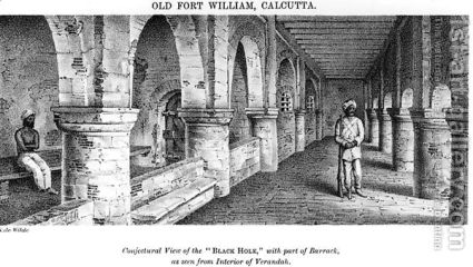 Old-Fort-William,-Calcutta,-With-A-Conjectural-View-Of-The-$27black-Hole$27,-With-Part-Of-The-Barrack,-As-Seen-From-The-Interior-Of-The-Verandah