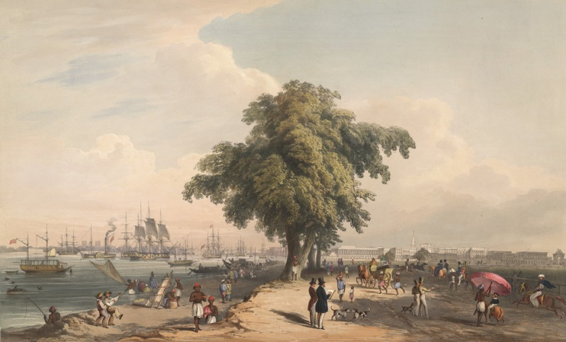 Town and Port of Calcutta,1848.The tree in the centre conveniently divides the view into the Esplanade with its grand buildings, on the right, and the ships on the Hooghly river, on the left. The whole scene portrays the liveliness and prosperity of Calcutta at the time.  A coloured lithograph by Sir Charles D'Oyly.