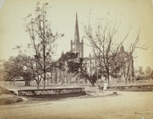 Samuel Bourne in c.1864. Located on the south-east corner of the Maidan, St. Paul's Cathedral was designed by Major W. N. Forbes, architect of the silver mint