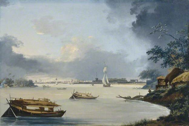 View of Calcutta from Hooghly River by William Hodges. c1789