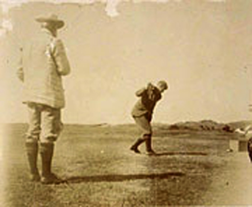 F.G. Tait driving and Professor Tait watching. Calcutta Cup, 1898 (1st recorded final).
