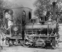 Small locomotive used to draw cane cars 2 ft. gauge, India