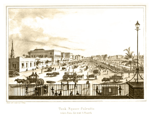 Tank Square Calcutta taken from the Scotch Church, 1847
