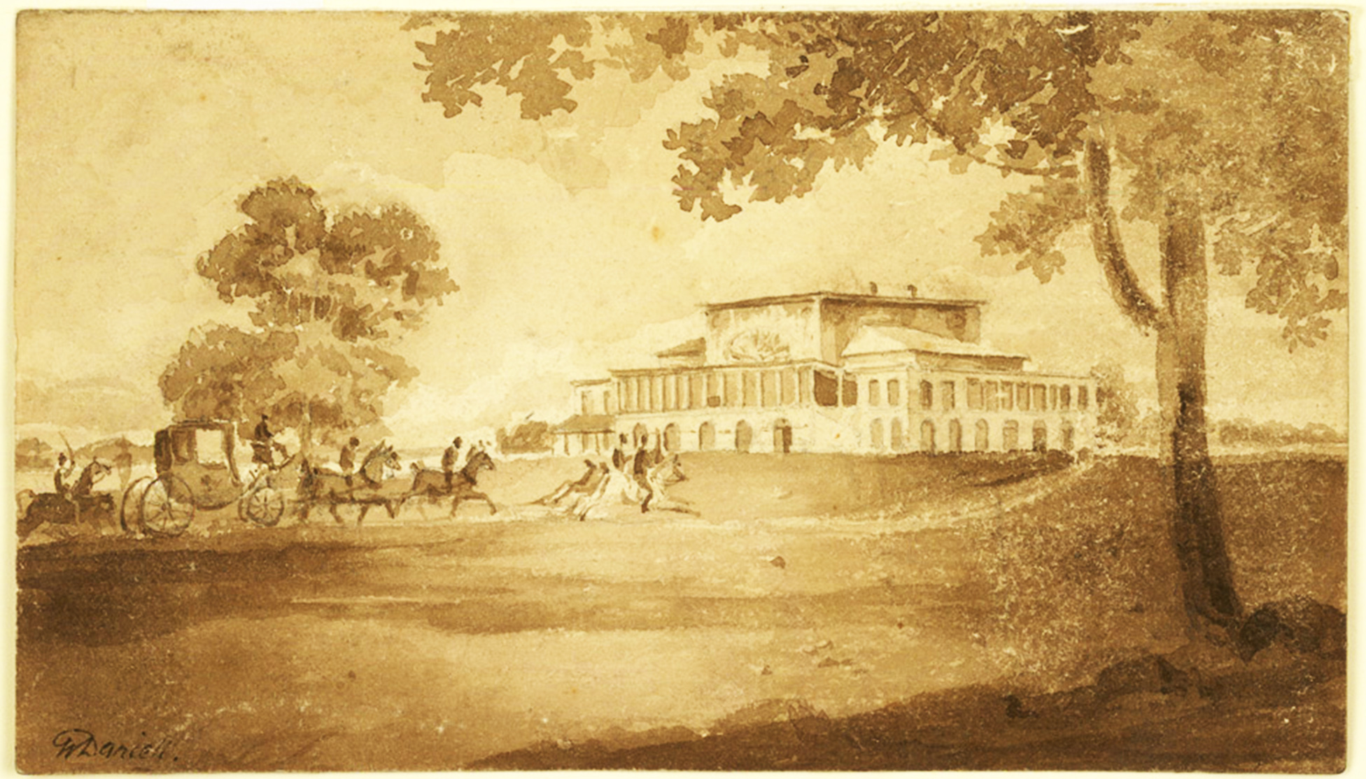 a-carriage-with-three-outriders-approaching-barrackpore-house_daniell_1810x
