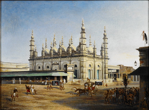 Dharamtala Mosque on the Corner of Chowringhee Road. WilliamPrnsep-c1840-45