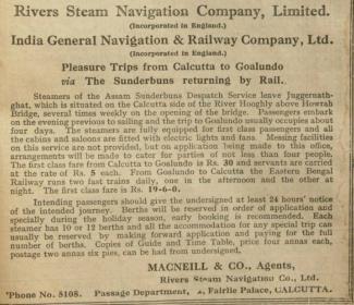 Pleasure trip by steamer from Juggernath Ghat