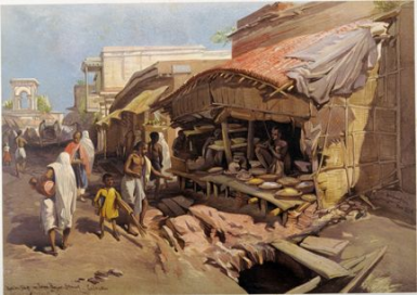 Old Jaunbazar Native Shops. Chromolithograph By William Simpson. 1867. Courtesy: BL