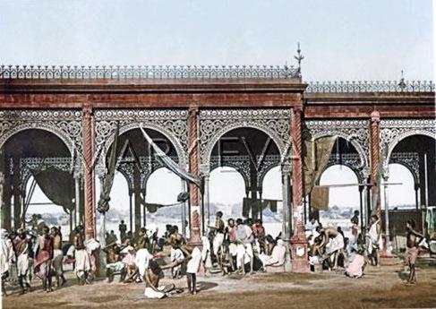 Malik's Ghat, Calcutta (Kolkata) India, circa 1890s. Date: circa 1890s