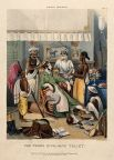 A male Anglo-Indian being washed, dressed and attended by five Indian servants. Coloured lithograph by J. Bouvier, 1842, after W. Tayler. Iconographic Collections. Source: Welcome Images