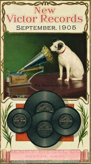 Nipper, the dog is listening to a wind-up gramophone. New Vector Records September 1905 ad. Courtesy: HMV