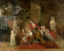 Major William Palmer with his second wife, the Mughal princess Bibi Faiz Bakhsh by Johann Zoffany, 1785.
