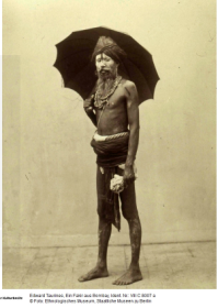 A Fakir with umbrella. Photograper unknown. Date unknown. Source:ebay