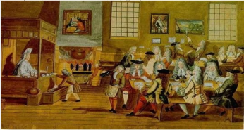 Interior of a London Coffee-house, 17th century. Source: Wikimedia Commons