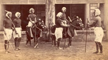 Manipore Polo Team's first visit to the Calcutta Polo Club in 1884. Courtesy: HindusthanTimes. Possibility photographer: Bourne. 1864