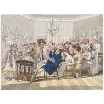 Nob-Kishen's Nautch party - d'Oyly c1825-28